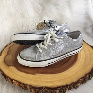 Converse one star silver sequin sneakers NEW